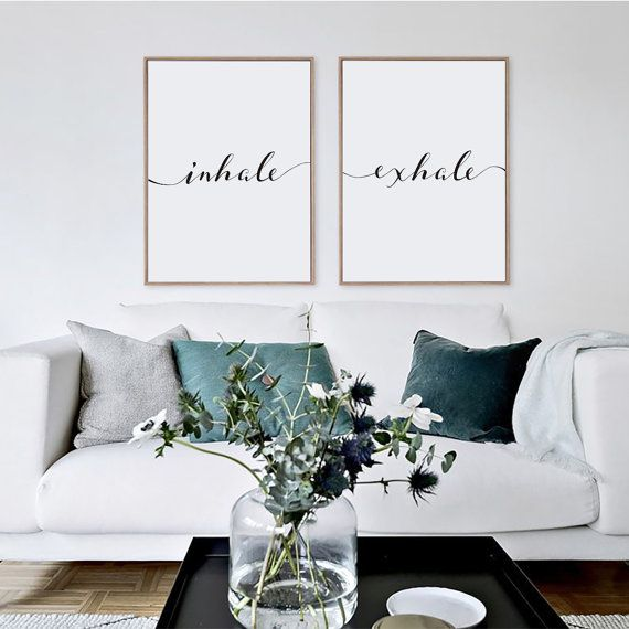 Inhaleren Exhale Print, minimalistische typografie kunst, kunst aan de muur Yoga, Pilates kunst, ontspanning geschenk, Print, ademen Home kunst aan de muur, Instant Download