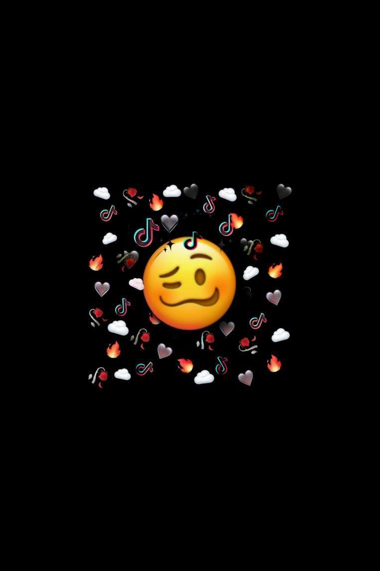 Tiktok Emoji Fire Heart Black Cloud Iphone Lockscreen Wallpaper In 2020 Wallpaper Emoji Art