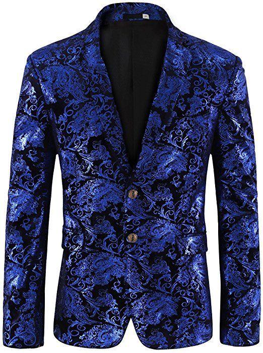 0831357a0ab Men s Dress Floral Suit Notched Lapel Slim Fit Stylish Blazer X-Small Blue  at Amazon Men s Clothing store