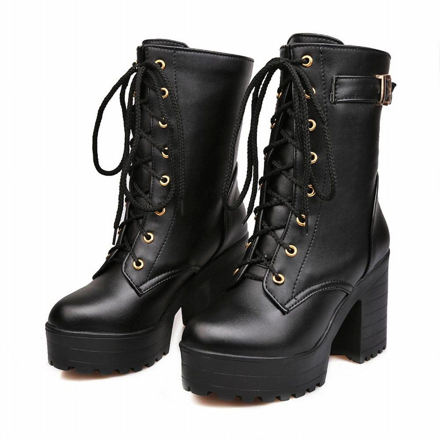 Women's Casual Mid Chunky Heels Platform Front Zipper Mid Calf Boots Riding Booties