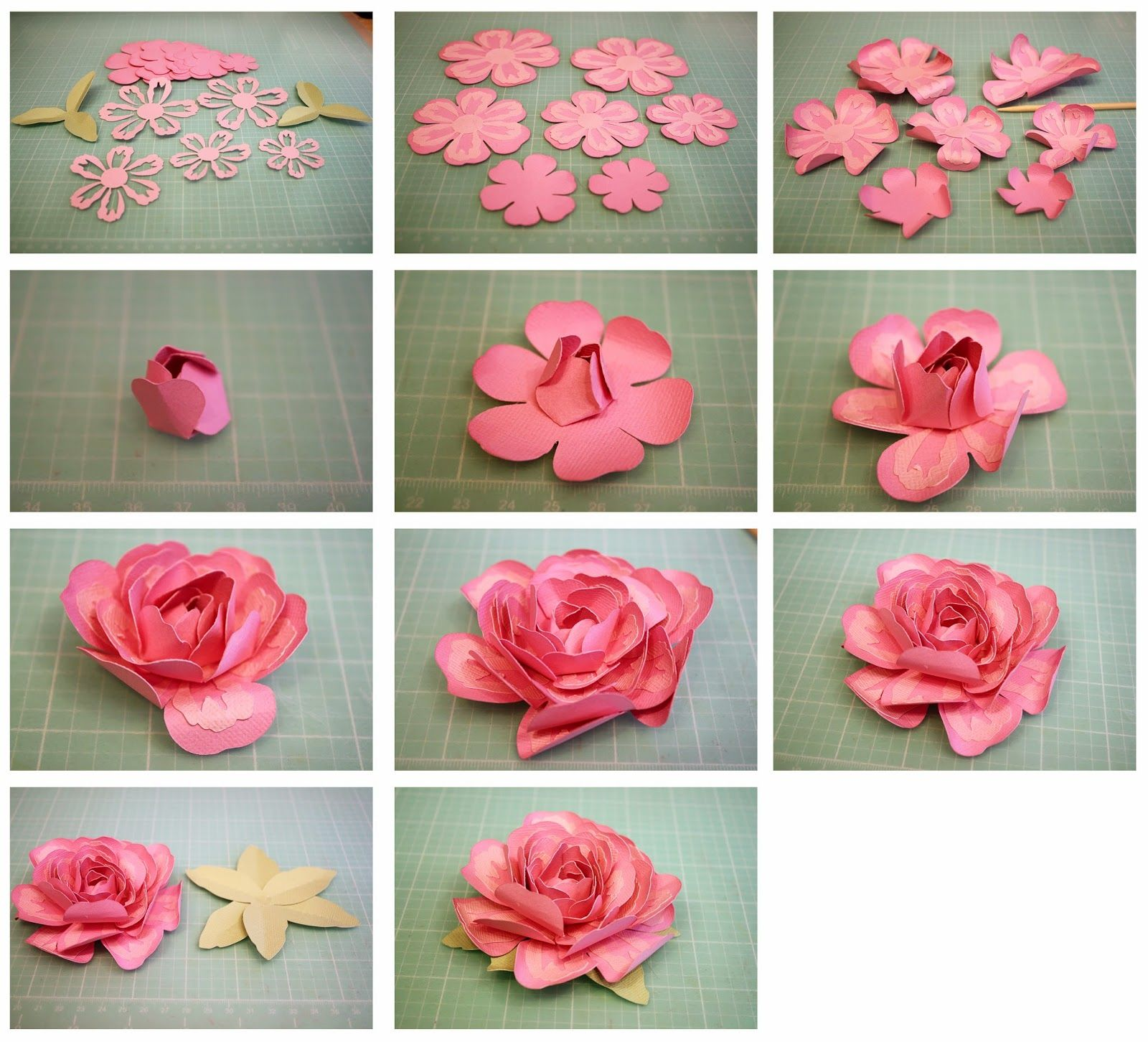 3d Layered Rose And Penstemon Paper Flowers Flowers Pinterest