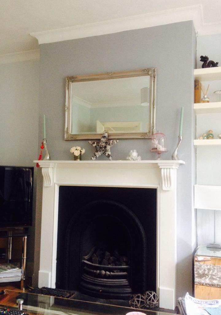 Chimney breast in warm pewter dulux living room for Warm grey living room ideas
