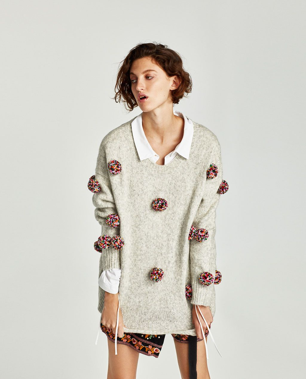 d06b1026643 OVERSIZED POMPOMS SWEATER-View all-KNITWEAR-WOMAN
