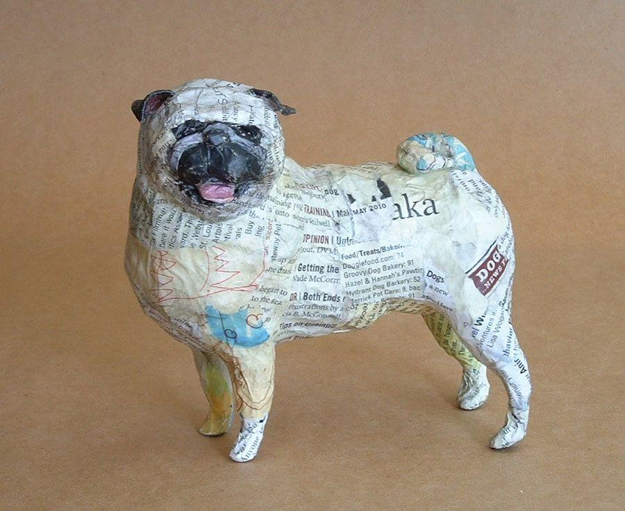 pug whimsical paper mache dog sculpture via. Black Bedroom Furniture Sets. Home Design Ideas