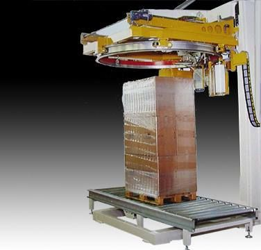 Wrappers with pallet-turn system, rotating arm or ring. Capacity from 5-150 pallets/hour. Hermetic cycle available with top sheet dispenser. Various options, film pre-stretch, thermosealed, pallet lift, pallet top holder, etc…