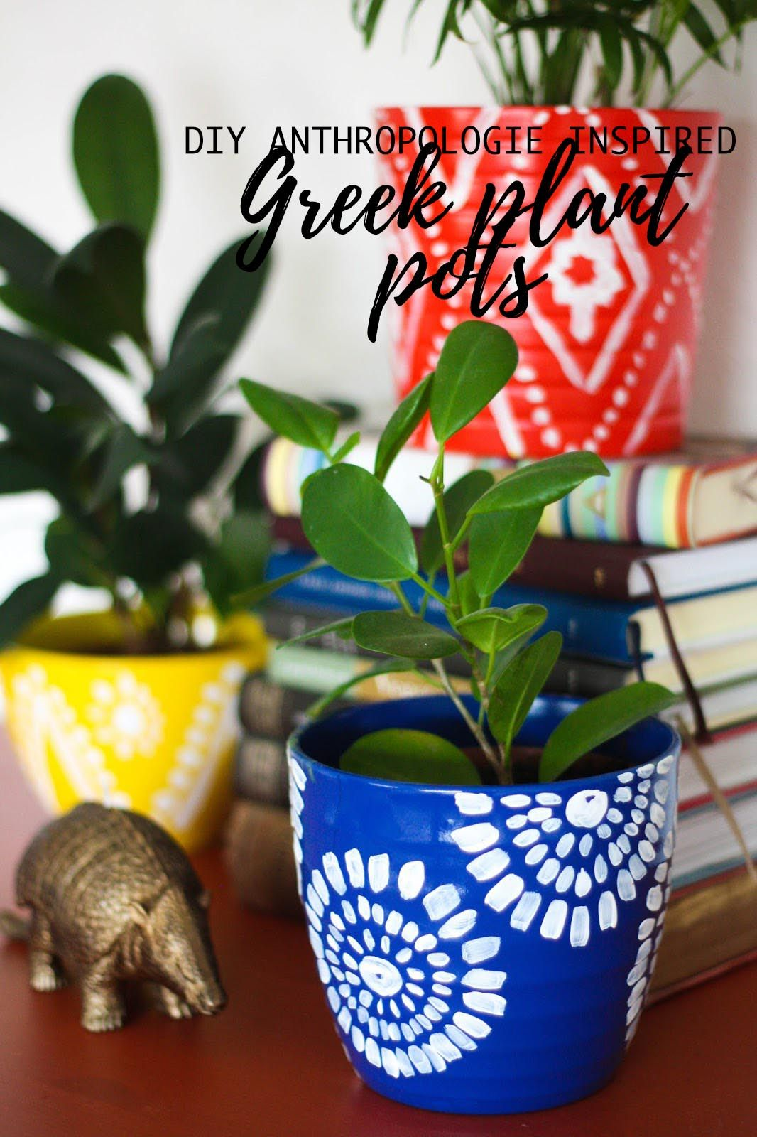 Diy anthropologieinspired greek plant pots anthropologie greek