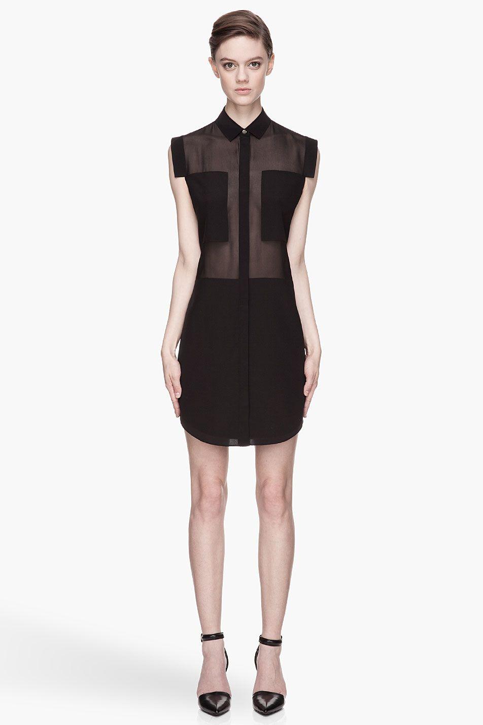 cd6c9e87c0ea48 T By Alexander Wang Black Sheer Paneled Silk Chiffon Shirtdress