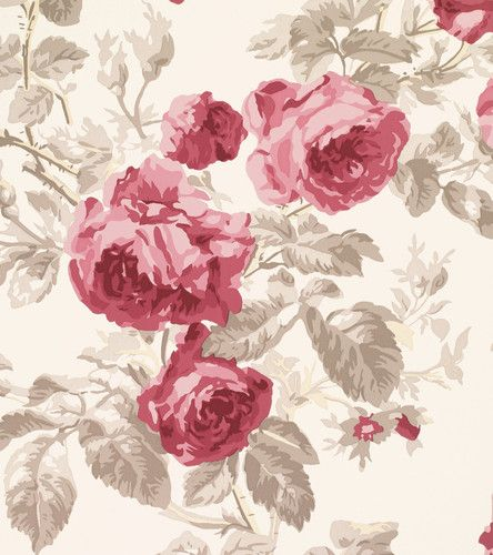 Laura Ashley Wallpaper Roses Cassis Floral Patterned