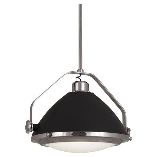 Apollo Pendant in Polished Nickel by Robert Abbey.    Bulb Type: A  Direct Wire  Polished Nickel Finish w/  Charcoal Grey Painted Accents  Metal Shade w/ Frosted Glass Diffuser  Susp. Hardware: 3 pcs. 3/4 X 12