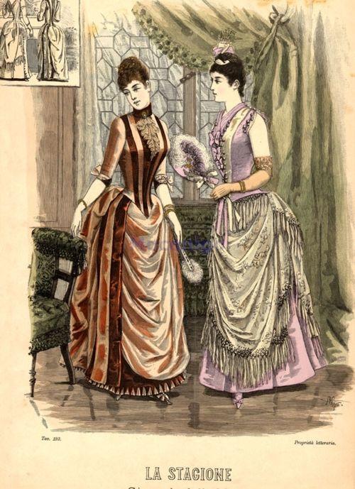 Vestido de noche y vestido de noche de 1888 Italia, La Stagione