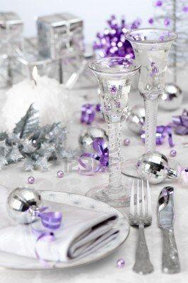 Stock Photo Purple Christmas Christmas Table Winter Table