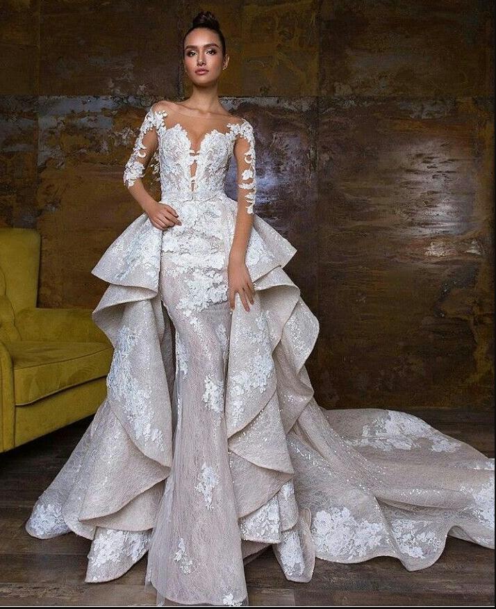 2019 Bohemian Wedding Dresses With Detachable Skirt Sweep Train Lace Applique Sequins Long Sleev Short Wedding Dress Long Sleeve Bridal Dresses Wedding Dresses