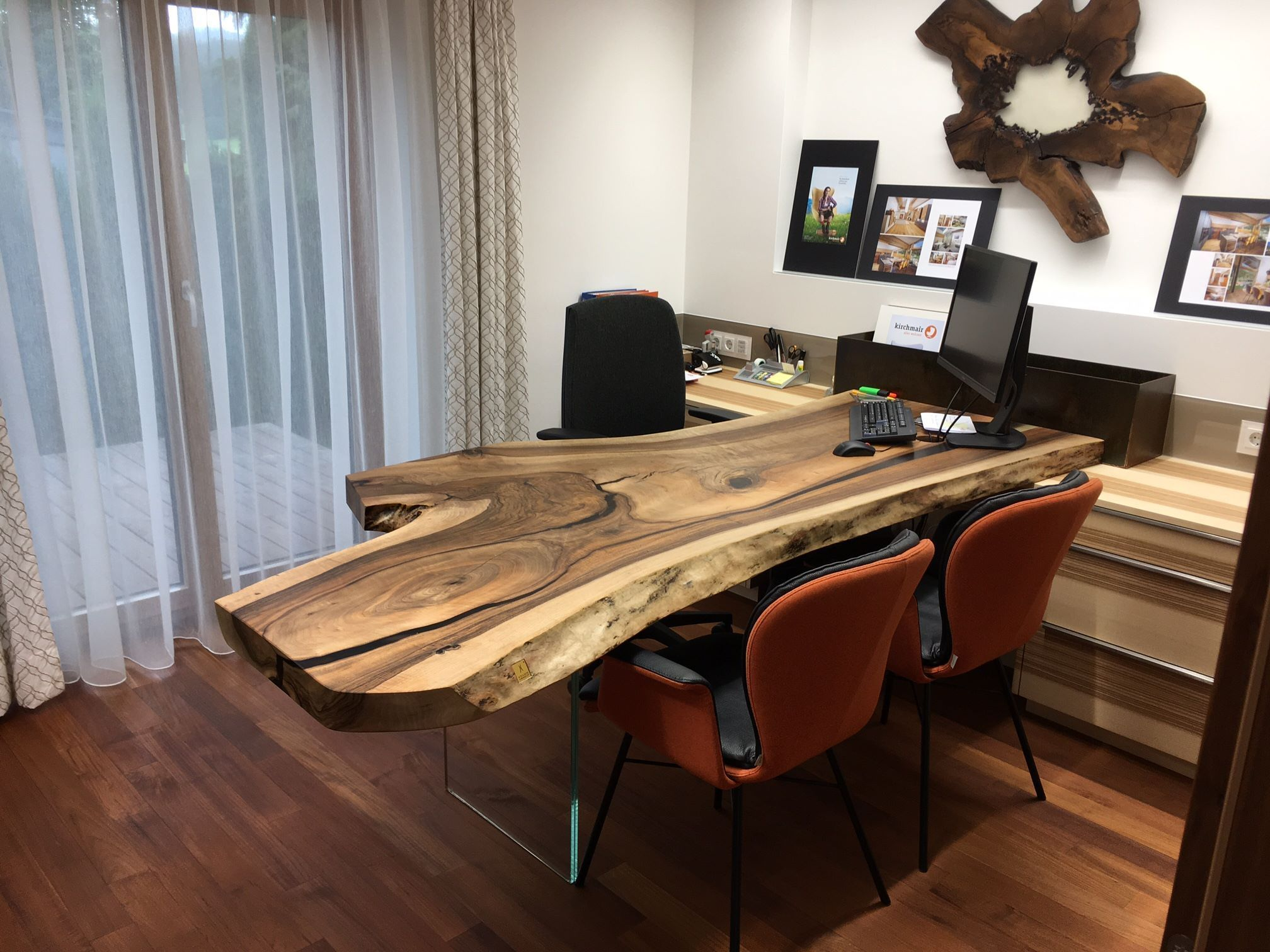 Wooden Office Table And Wall Piece Walnut Wood Woodworking