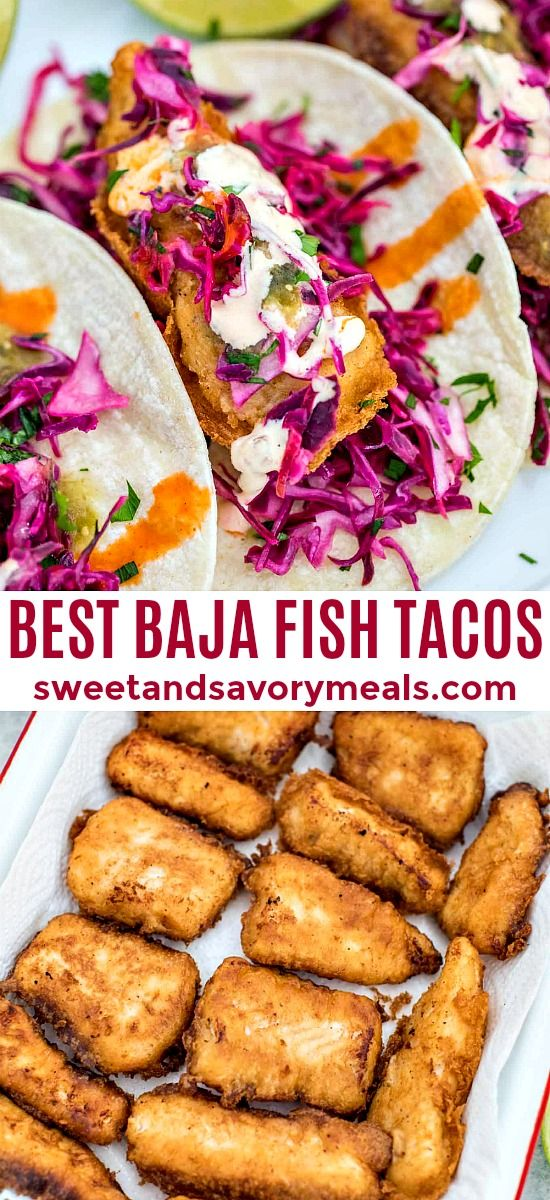 Baja Fish Tacos Recipe - Sweet and Savory Meals #tacos