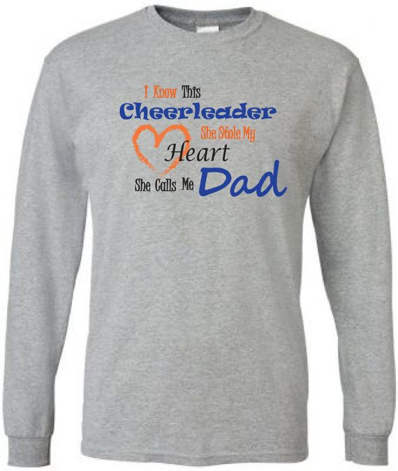 Cheer dad shirt. Long sleeve in white or gray. by
