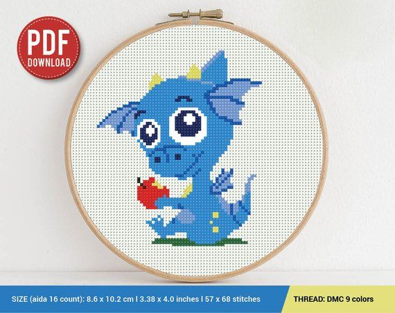 Baby Dragon Cross stitch pattern | Embroidery Pattern | Instant Download | Embroidery Designs