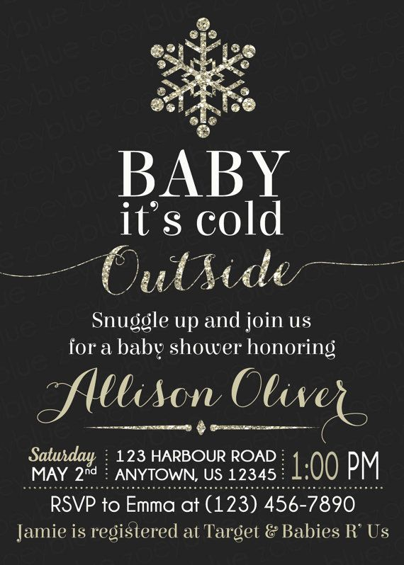 Baby Itu0027s Cold Outside Baby Shower Invitation   Gold Glitter Christmas  Bridal Shower Winter Wonderland Snowflake Chalkboard   Printable File