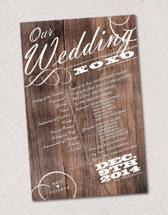 Wood Wedding Program by HummingbirdShops on Etsy, $25.00