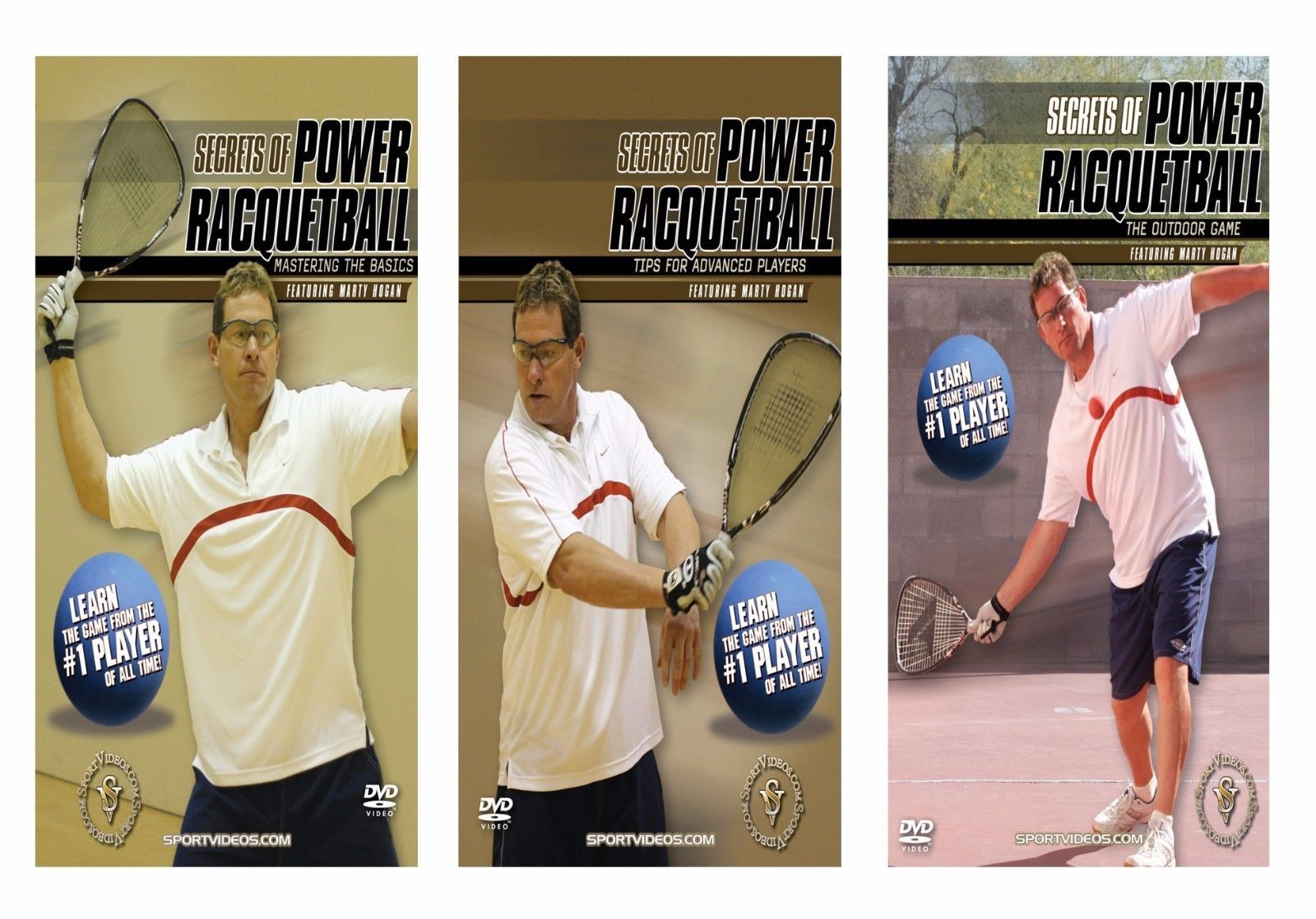 Secrets of Power Racquetball 3 DVD Set featuring Marty