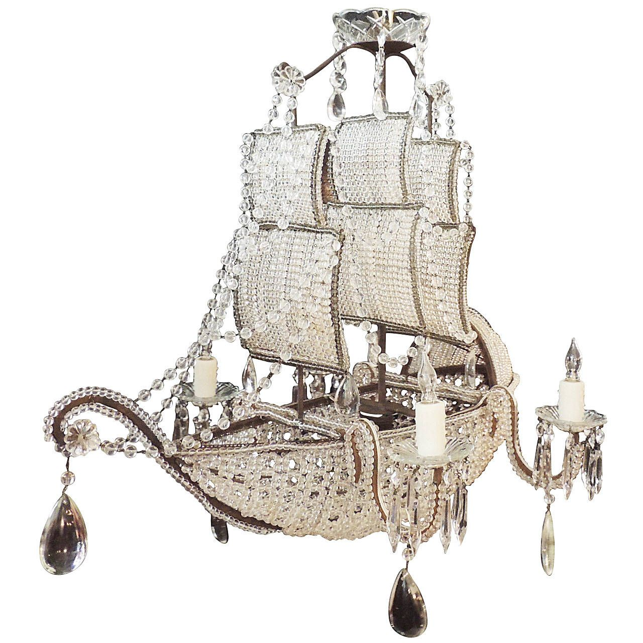 Early 1900s venetian crystal iron and tole ship chandelier early 1900s venetian crystal iron and tole ship chandelier from a unique collection of arubaitofo Choice Image