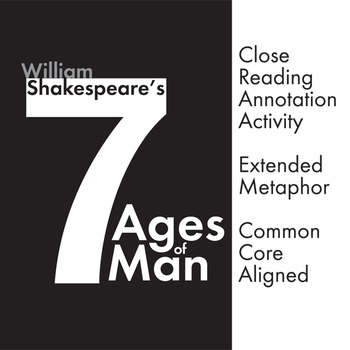 Seven Age Of Man Close Read Shakespeare S Poem Extended Metaphor Ccs Lesson Writing Response Reading All The World A Stage Paraphrase