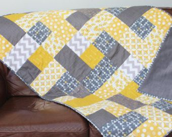 handmade patchwork contemporary quilt mustard yellow and grey ... : quilt throw blanket - Adamdwight.com