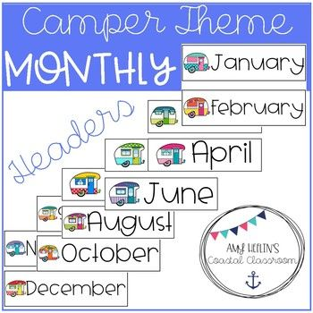 Back to School Retro Camper Themed Calendar Headers Camping Theme
