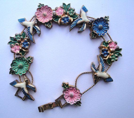 Antique 1920's Edwardian Cast Metal and Enamel Charm Hummingbirds Bracelet Accessories OCM