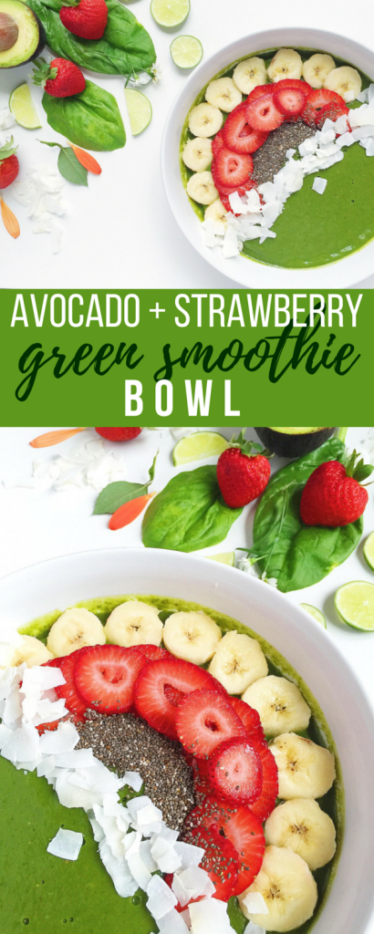 Creamy Green Smoothie Bowl naturally sweetened with banana and strawberries and topped with good-for-you goodies like Chia seeds and coconut!