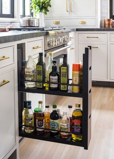 oils vinegar and spray bottles in a pull out drawer kitchen renovation kitchen design on kitchen organization oil and vinegar id=70800