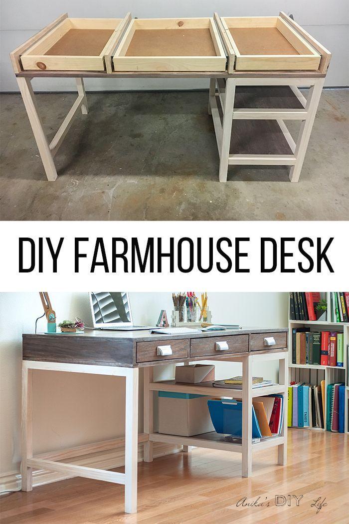 DIY Modern Farmhouse Desk (Plans and video) Farmhouse