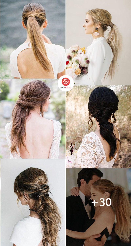 42 Gorgeous Wedding Hairstyles Ideas To Inspire Your Wedding Day Pony Tail Wedding Hairstyles For Long Hair Hair Styles Short Wedding Hair Wedding Hairstyles