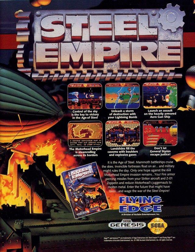 Advertisement for Steel Empire for Sega Genesis. 1992. Acclaim/Flying Edge.