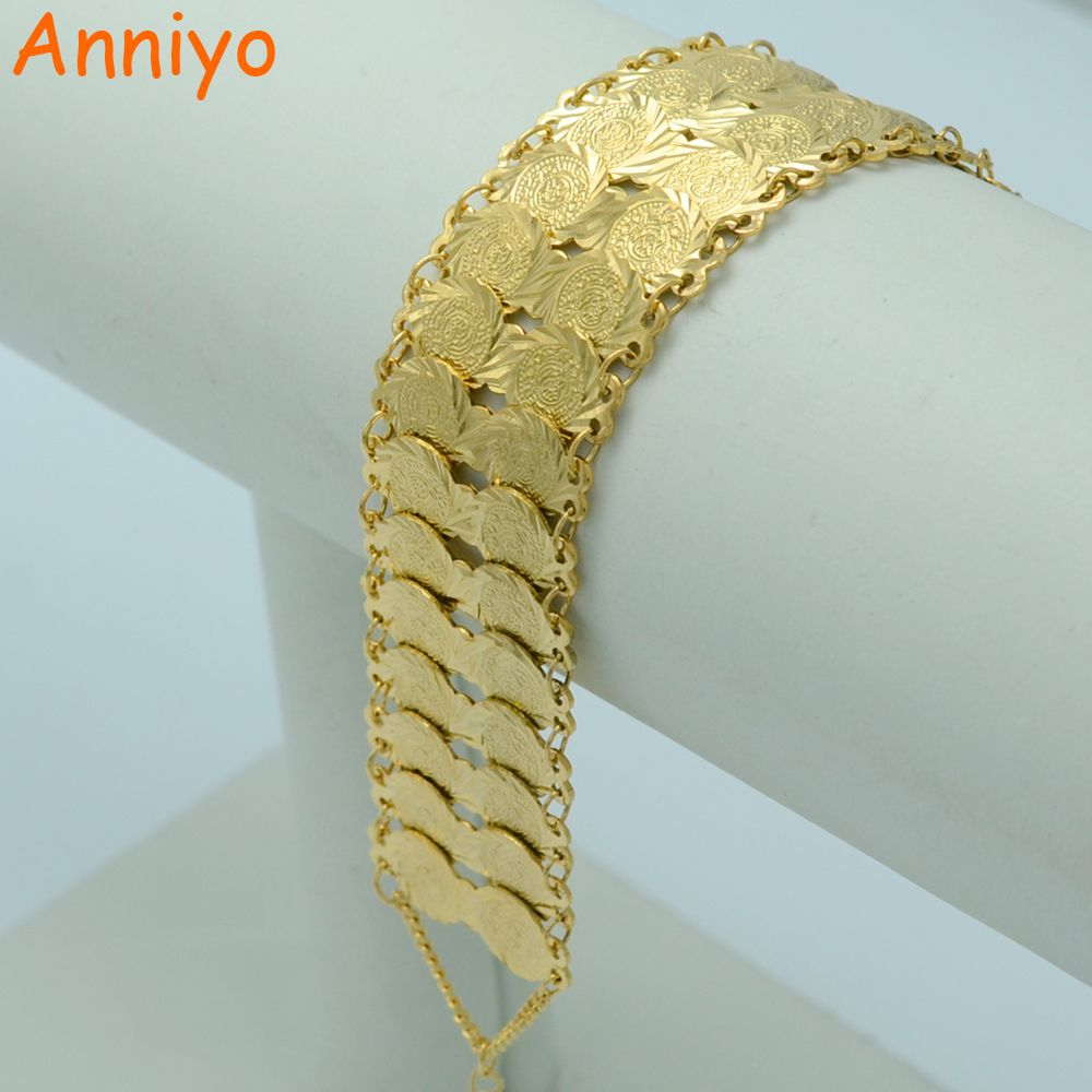 f3ac7d5457ffe Anniyo Metal Coin Bracelets for Womens Gold Color Arab Islam Coin ...