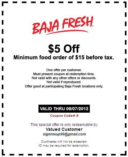 $5 off $15 or more Use Baja Fresh Coupons Printable Coupons - payment coupon books