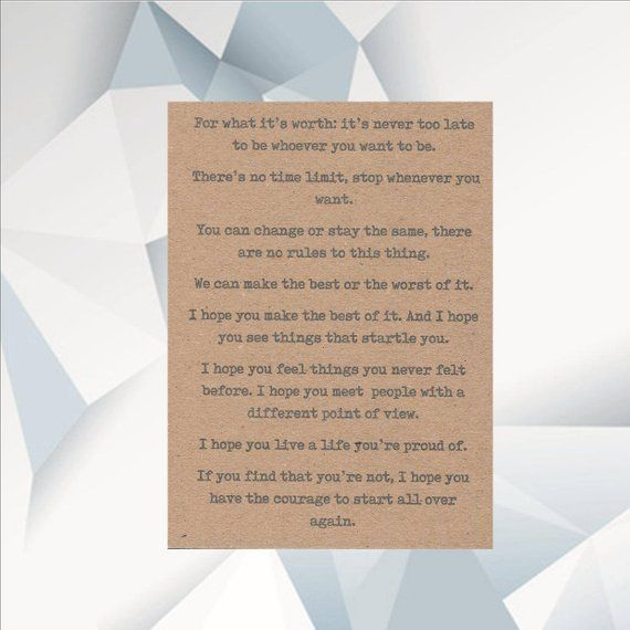ENCOURAGEMENT QUOTE CARD , Quote Card Poem Card