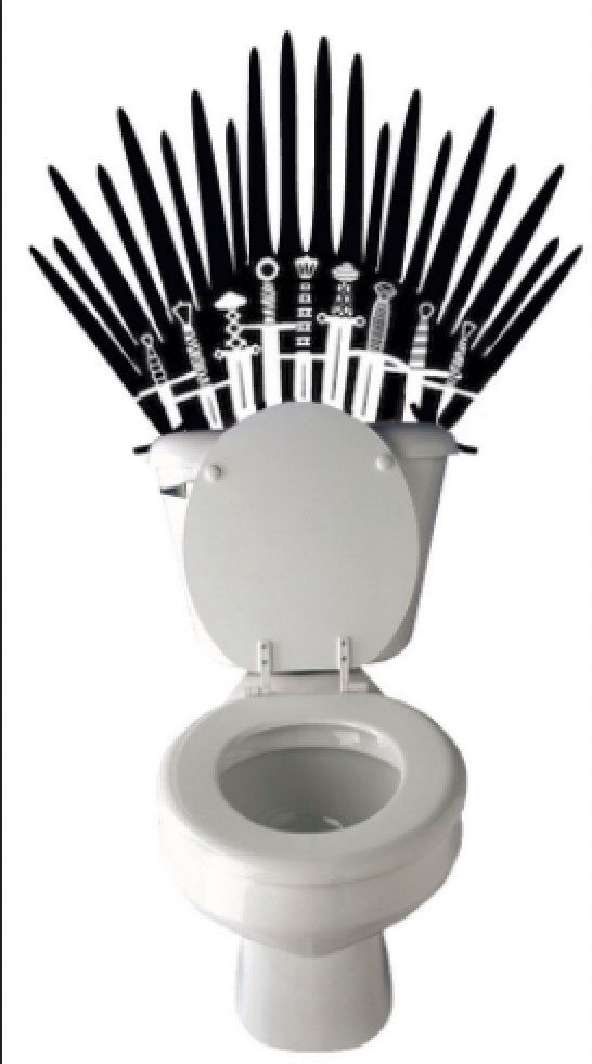 Game of Thrones Iron Throne inspired Toilet Sticker Funny Sword Toilet Decal or Bathroom Wall Sticker by WordFactoryDesign on Etsy https://www.etsy.com/listing/196890475/game-of-thrones-iron-throne-inspired