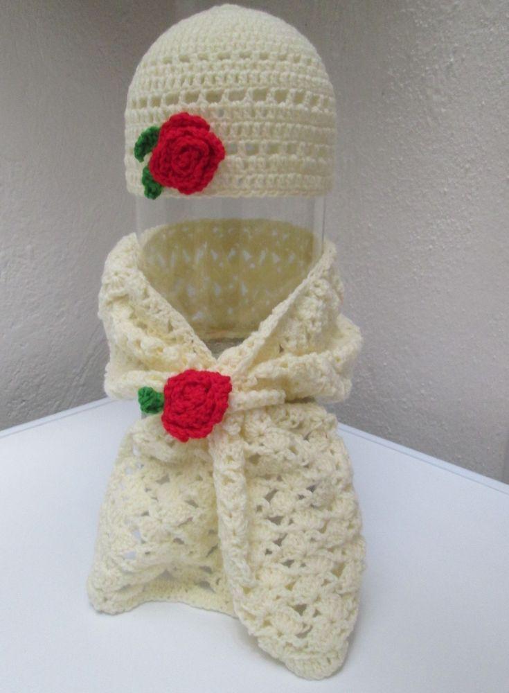 Cappello lana con sciarpa Cappellino e sciarpa bimba neonata uncinetto 3 9  mesi 49fac180ce8d