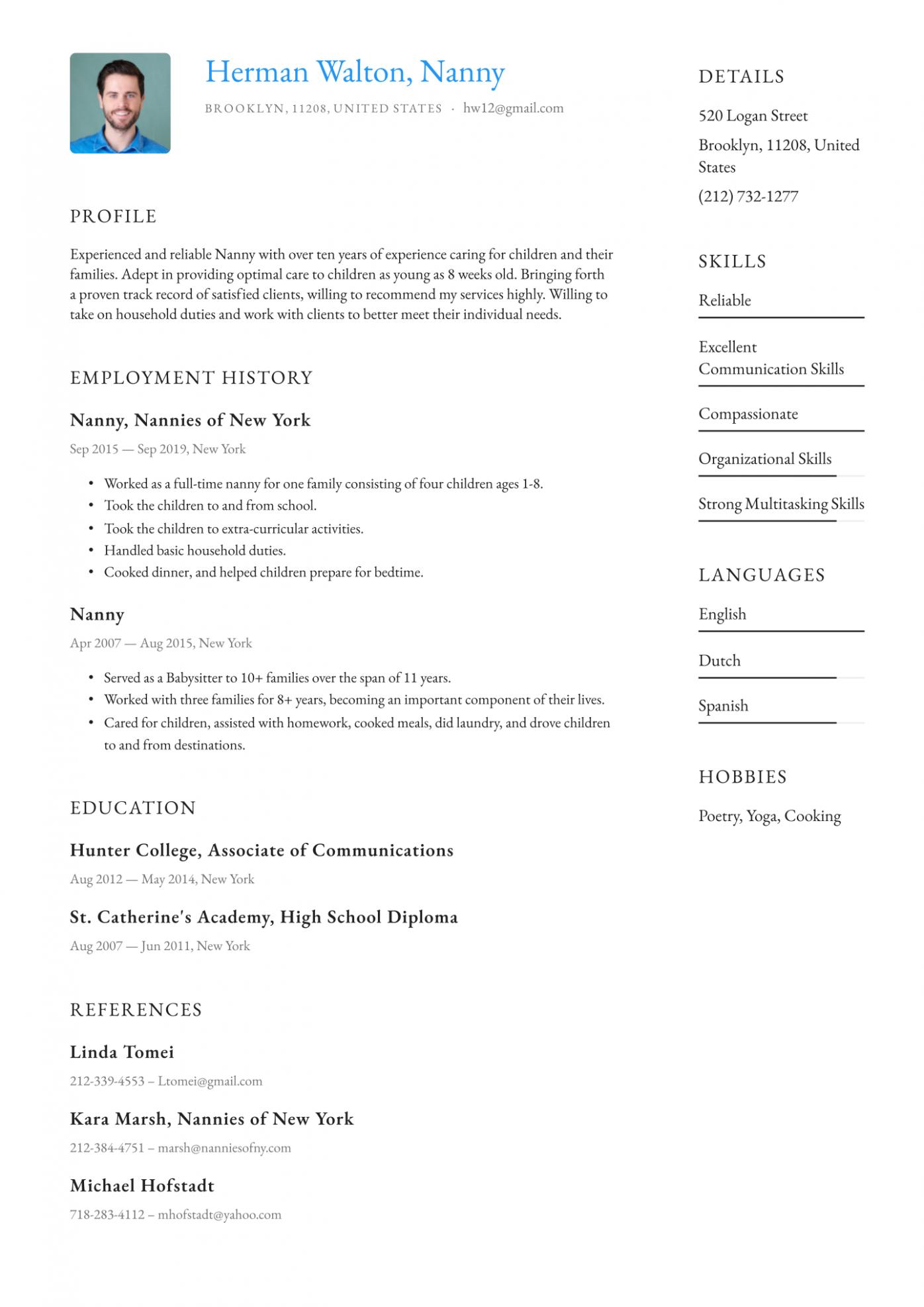 10 Nanny Resume Template in 2020 Resume template, Resume