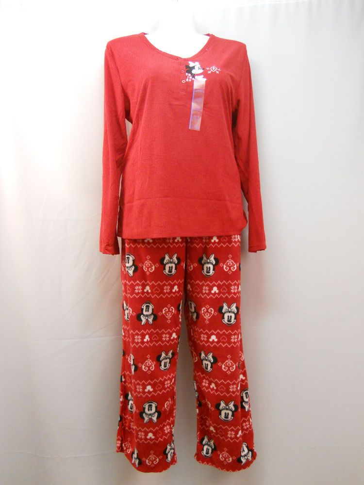 Disney Minnie Red Henley Sleepshirt & Pant Lounge/PJ's 2Pc Set Plus Size 2X #Disney #PajamaSets