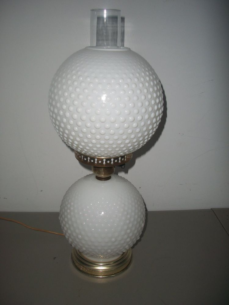 Vintage Fenton White Milk Glass Hobnail Gwtw Double Globe Lamp Globe Lamps White Milk Glass Lamp