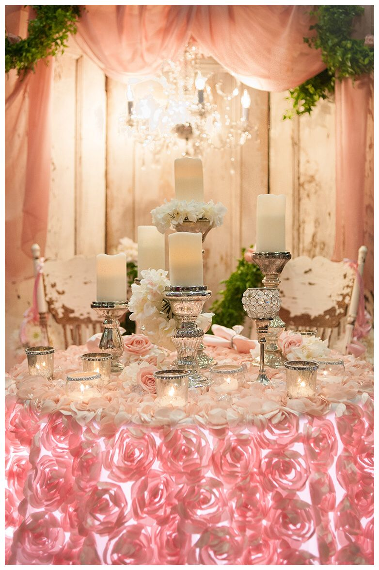 Blush pink wedding table crystal chandelier rosette linen murcury blush pink wedding table crystal chandelier rosette linen murcury glass candles and chivari chairs arubaitofo Image collections