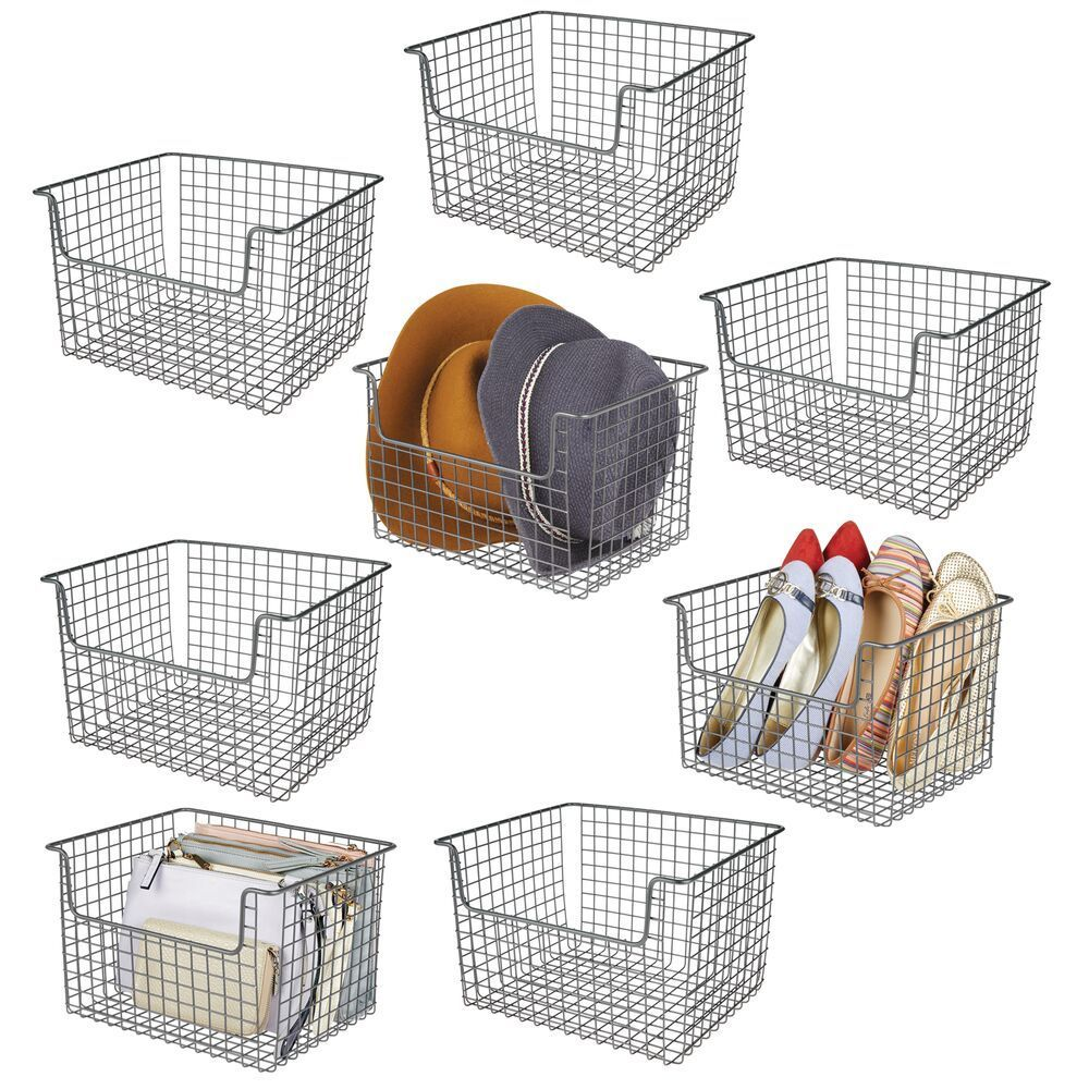 Wide Metal Closet Storage Basket In Graphite 10 X 12 X 7 75 In Pack Of 8 By Mdesign In 2020 Closet Storage Storage Baskets Storage