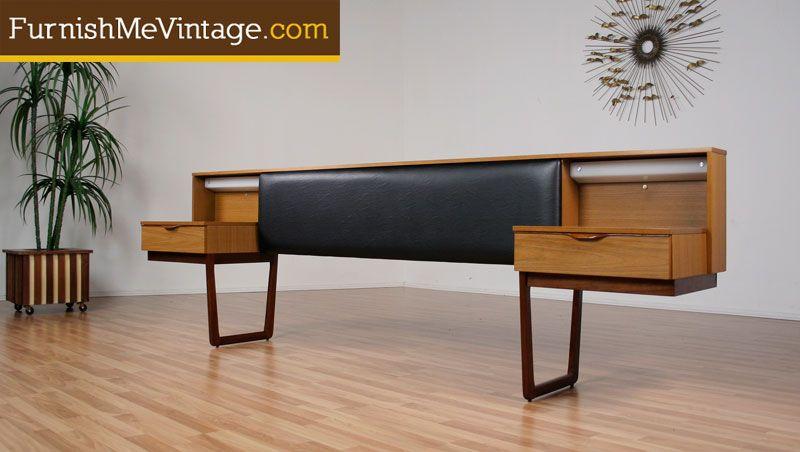 mid century bedroom with floating nightstands | sold: danish teak