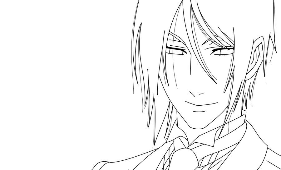 Black Butler Sebastian Coloring Pages Lineart By Hyuuugo
