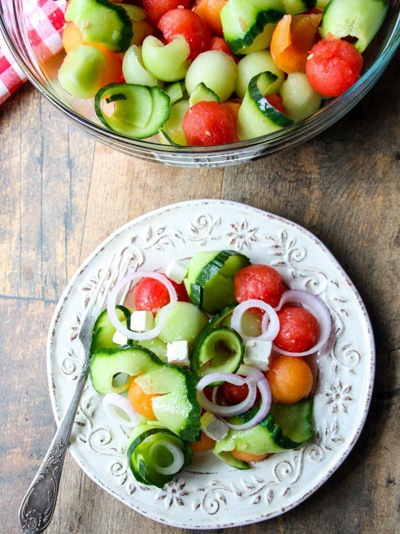 Watermelon, Cucumber & Feta Salad   Recipe   Watermelon and feta, Cucumber feta salad
