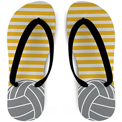 Volleyball Flip Flops Stripes and Ball