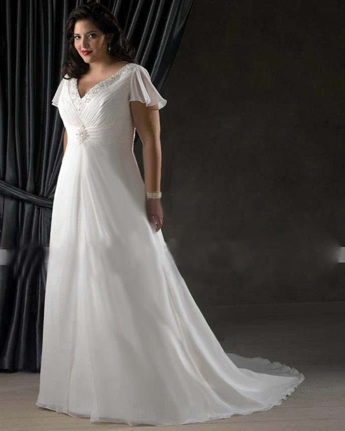 Hot Custom Plus Size Wedding Dresses chiffon bride gown butterfly ...
