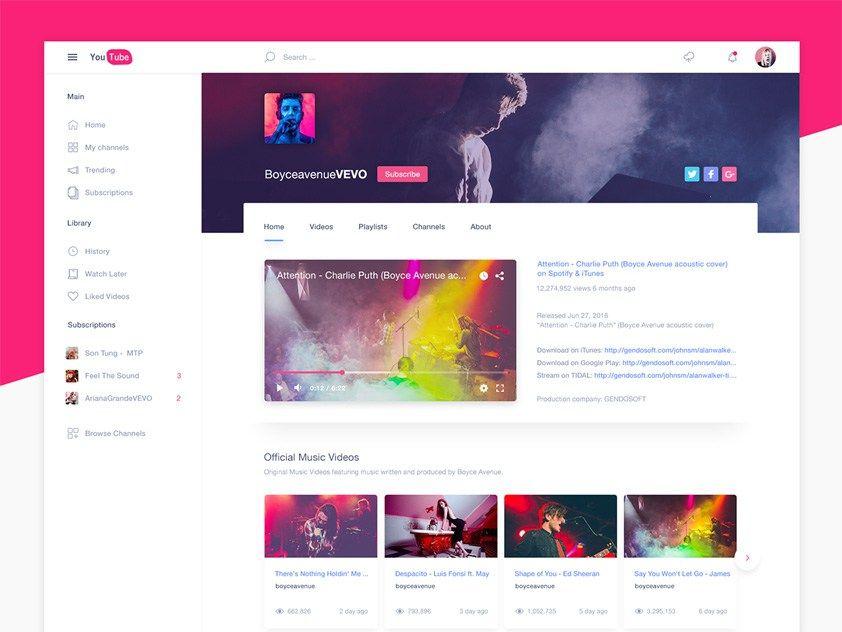 Youtube Website Template | Freebies | Pinterest | Youtube website ...