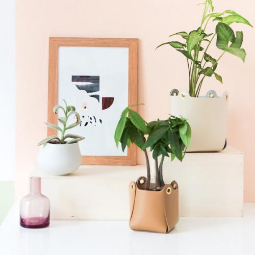 r alisez un cache pot poser ou bien une suspension pour plante en cuir une cr ation originale. Black Bedroom Furniture Sets. Home Design Ideas